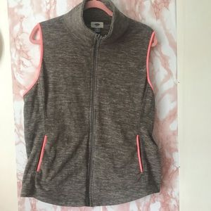 Neon Pink Trim Performance Fleece Winter Vest